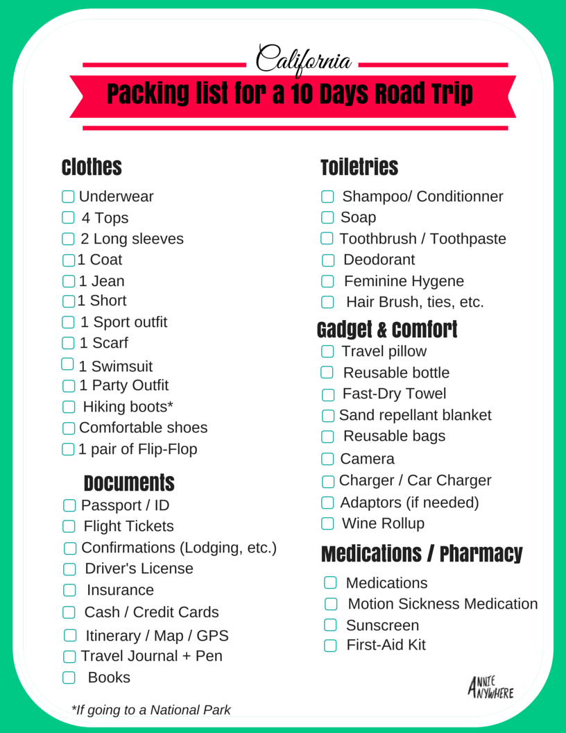 What to pack for California in Autumn – Packing List